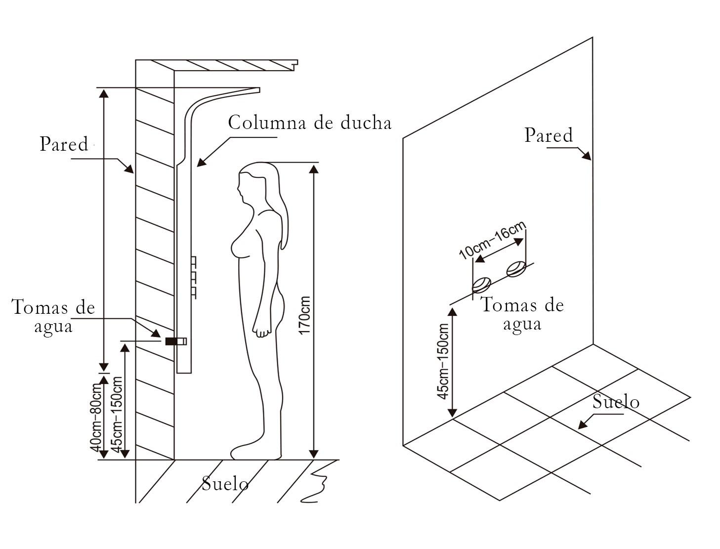 Blog del hidromasaje los beneficios de las columnas de for Medidas de una ducha
